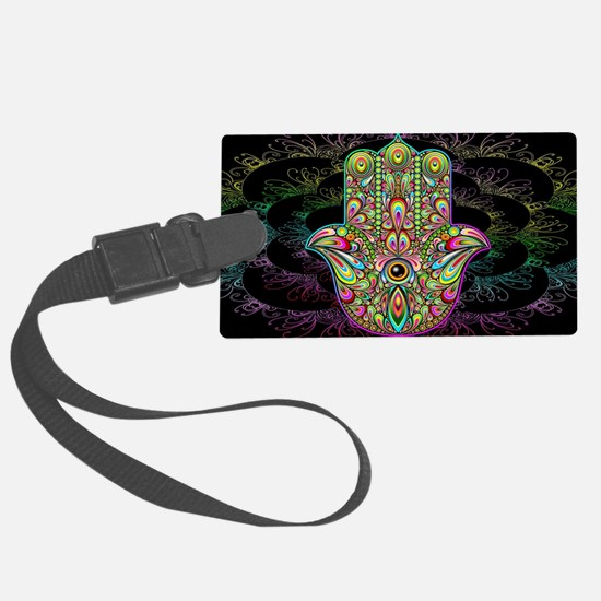 Hamsa Hand Amulet Psychedelic Luggage Tag