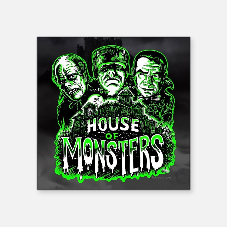 "House of Monsters Square Sticker 3"" x 3"""