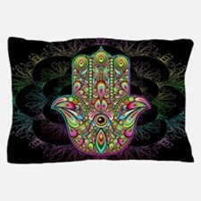Hamsa Hand Amulet Psychedelic Pillow Case