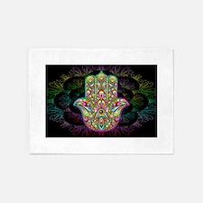 Hamsa Hand Amulet Psychedelic 5'x7'Area Rug