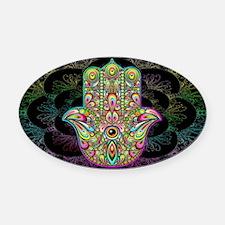 Hamsa Hand Amulet Psychedelic Oval Car Magnet