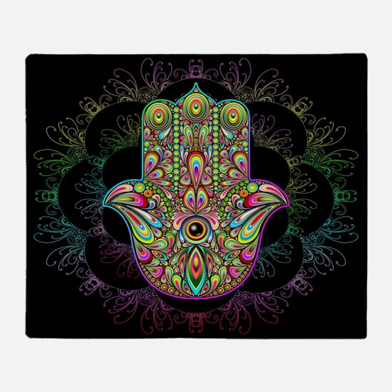 Hamsa Hand Amulet Psychedelic Throw Blanket