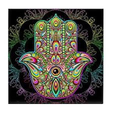 Hamsa Hand Amulet Psychedelic Tile Coaster