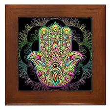 Hamsa Hand Amulet Psychedelic Framed Tile