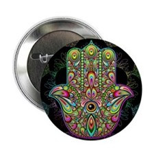 """Hamsa Hand Amulet Psychedelic 2.25"""" Button"""