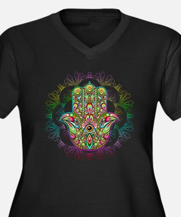 Hamsa Hand Amulet Psychedelic Plus Size T-Shirt