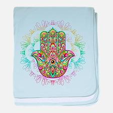 Hamsa Hand Amulet Psychedelic baby blanket