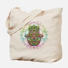 Hamsa Hand Amulet Psychedelic Tote Bag