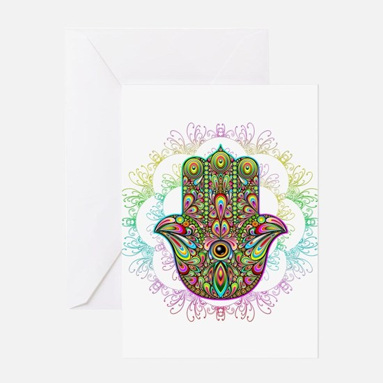 Hamsa Hand Amulet Psychedelic Greeting Cards