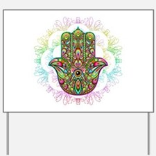 Hamsa Hand Amulet Psychedelic Yard Sign