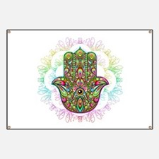 Hamsa Hand Amulet Psychedelic Banner