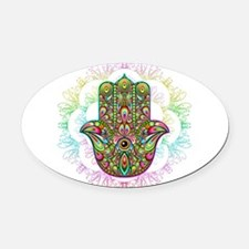 Hamsa Hand Amulet Psychedelic Oval Car Magnet