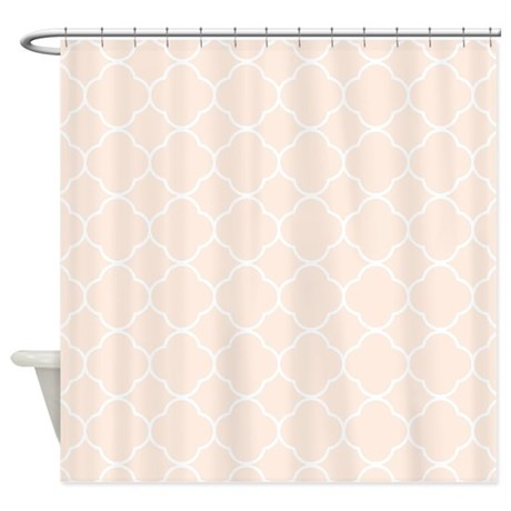 peach quatrefoil pattern shower curtain by familyfunshoppe