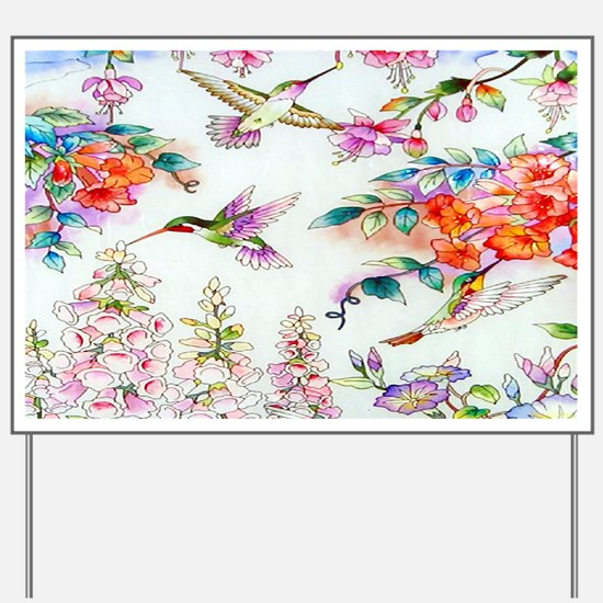 Hummingbirds Flowers Landscape Yard Sign