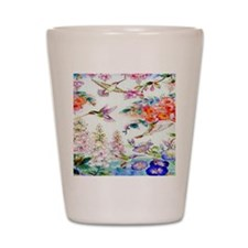 Hummingbirds Flowers Landscape Shot Glass