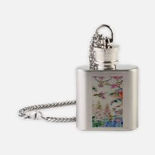 Hummingbirds Flowers Landscape Flask Necklace