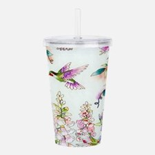 Hummingbirds Flowers L Acrylic Double-wall Tumbler