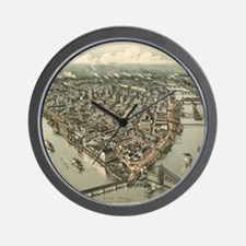 Vintage Pictorial Map of Pittsburgh (19 Wall Clock