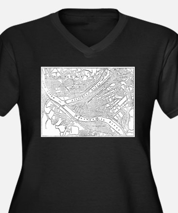 Vintage Map of Pittsburgh (1885) Plus Size T-Shirt