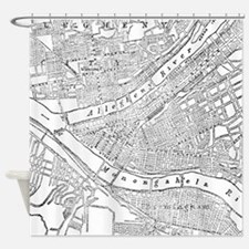 Vintage Map of Pittsburgh (1885) Shower Curtain