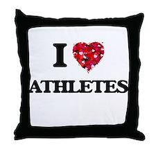 I love Athletes Throw Pillow