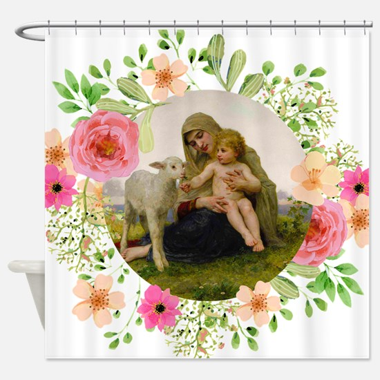 Virgin and Lamb Shower Curtain