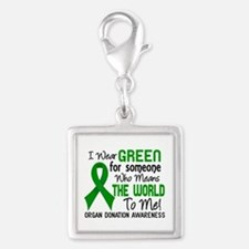 Organ Donation MeansWorldToMe Silver Square Charm
