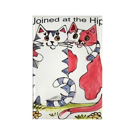 """Joined at the Hip"" Cats Rectangle Magnet"