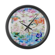 Hummingbirds and Flowers Landscap Large Wall Clock
