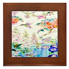 Hummingbirds and Flowers Landscape Framed Tile