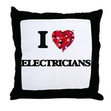 I love Electricians Throw Pillow