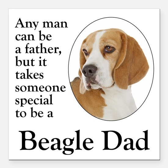"Beagle Dad Square Car Magnet 3"" x 3"""