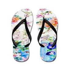 Hummingbirds and Flowers Landscape Flip Flops