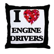 I love Engine Drivers Throw Pillow
