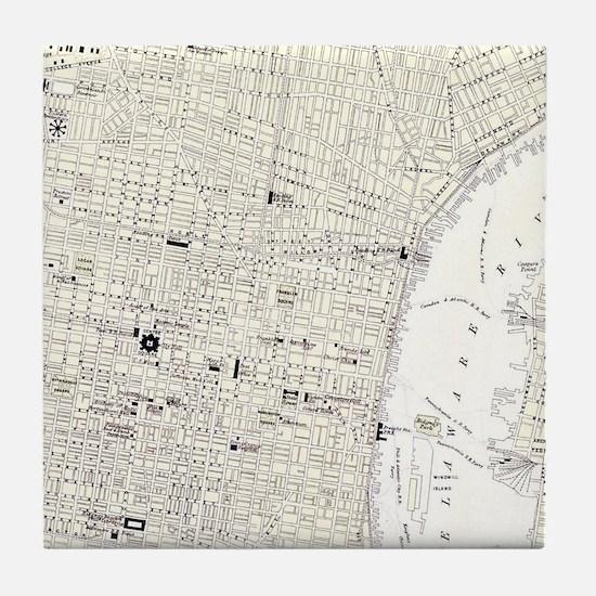 Vintage Map of Philadelphia (1885) Tile Coaster