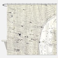 Vintage Map of Philadelphia (1885) Shower Curtain