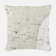 Vintage Map of Philadelphia (1 Woven Throw Pillow