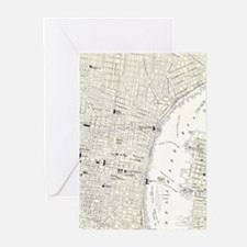 Vintage Map of Philadelphia (1885) Greeting Cards