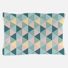 Teal Yellow Green Geometric Triangles Pillow Case