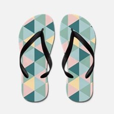 Teal Yellow Green Geometric Triangles Flip Flops