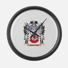 Chapman Coat of Arms - Family Cre Large Wall Clock