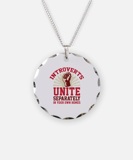 Introverts Unite Necklace Circle Charm