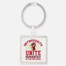 Introverts Unite Square Keychain