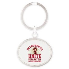 Introverts Unite Oval Keychain