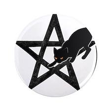 Wicca Pentacle - Black Cat Button