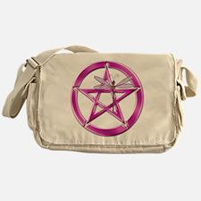 Pink Pentacle Dragonfly Messenger Bag