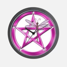 Pink Pentacle Dragonfly Wall Clock