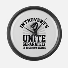 Introverts Unite Large Wall Clock