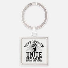 Introverts Unite Square Keychain