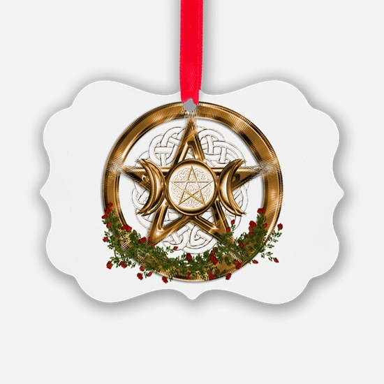 Gold Triple Moon Pentacle Ornament